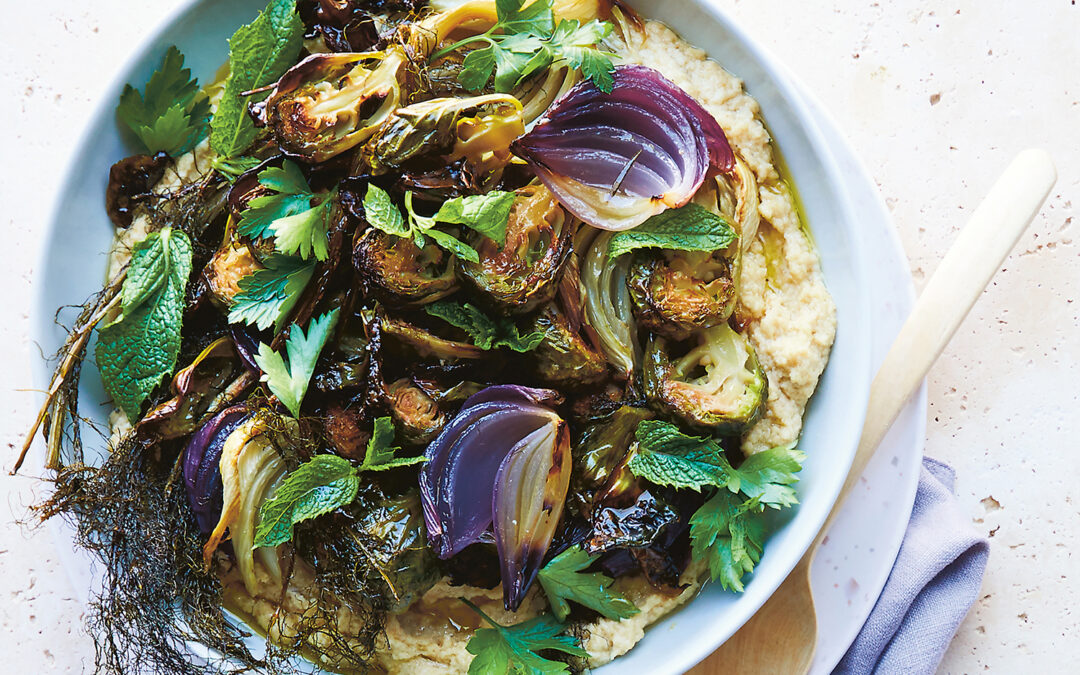 Roasted Brussels Sprouts and Fennel With Tahini Cream